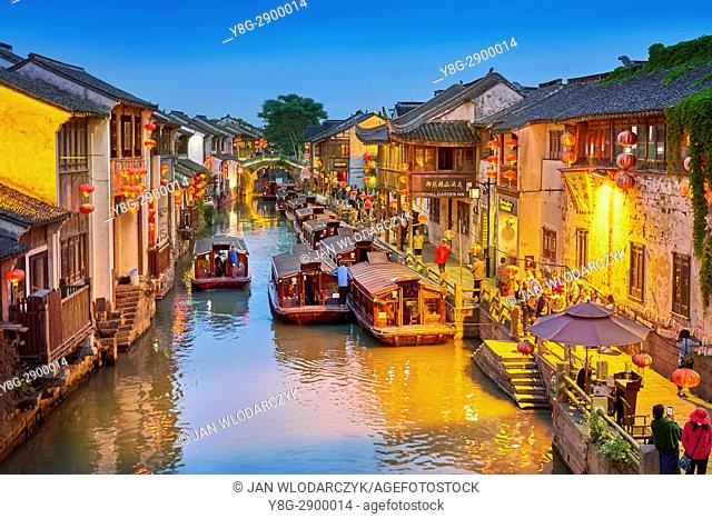 Shantang Canal at evening, Suzhou, China