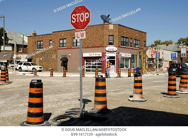 The intersection of parent Avenue and Erie Street undergoing construction to convert to a roundabout, a new trend in Windsor for traffic flow issues, Windsor