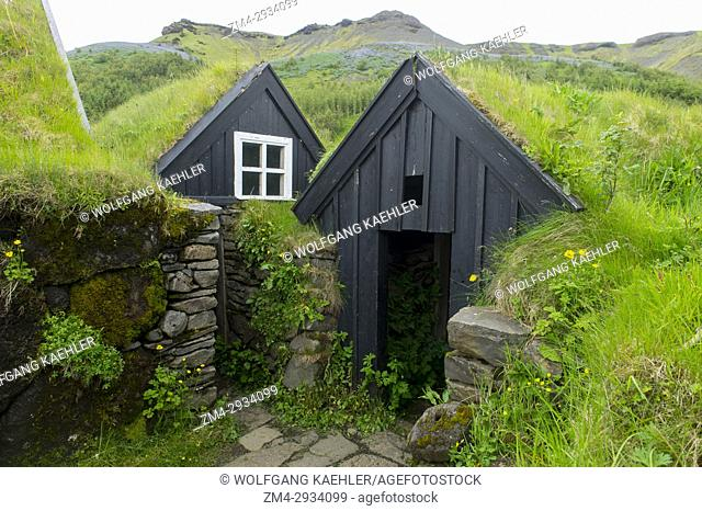 Traditional Turf Houses at the Skogar folk museum in southern Iceland