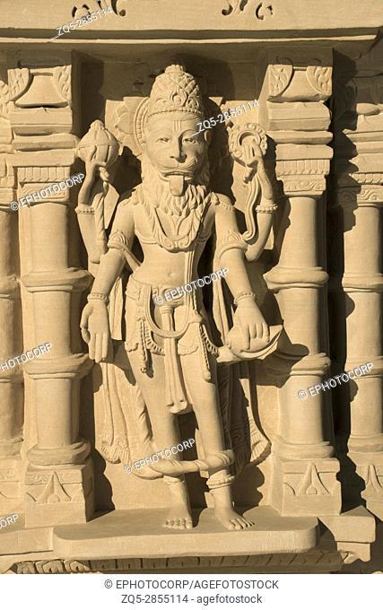 Hanuman sculpture on external wall, BAPS Swaminarayan Mandir Katraj, Pune