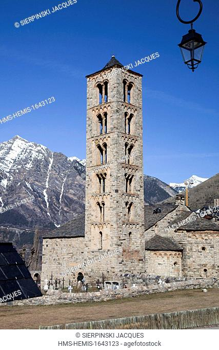 Spain, Catalonia, Boi valley, listed as World Heritage by UNESCO, Sant Climent de Taull church, Roman Lombard bell tower