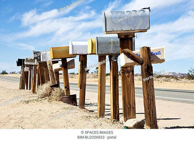 Row Of Mailboxes Along Desert Road