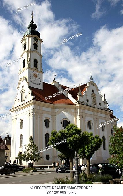 Most beautiful village church in the world in Steinhausen, district of Biberach, Upper Swabia, Baden-Wuerttemberg, Germany, Europe