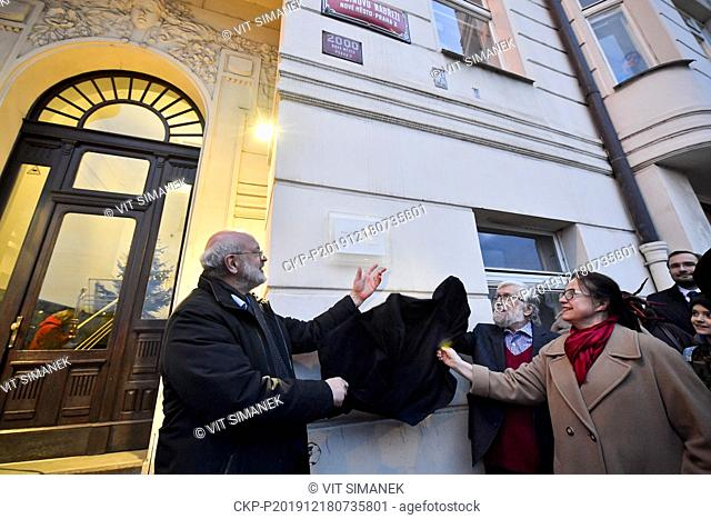 A plaque commemorating the late Czech dissident, playwright and first post communist president Vaclav Havel (1936-2011) was unveiled on the apartment house on...