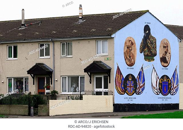Mural in Protestant Shankill Road-area of Belfast honoring the Ulster Defence Union UDU Ulster Defence Association UDA and Ulster Freedom Fighters UFF Shankill...