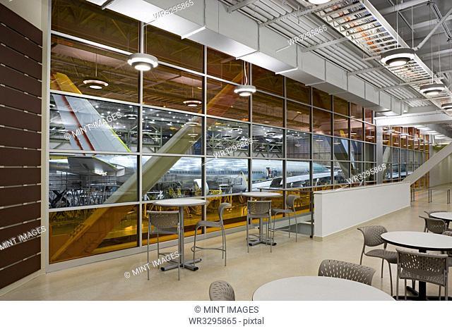 Empty lounge area of airplane hangar