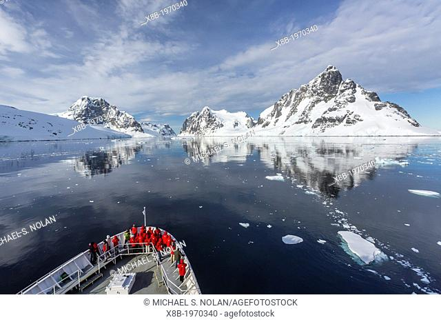 The Lindblad Expedition ship National Geographic Explorer on expedition in the Lemaire Channel in Antarctica, Southern Ocean