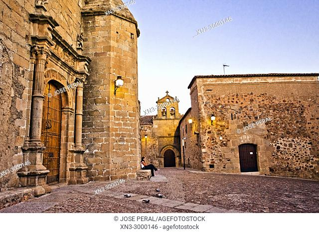 On background Church and convent of San Pablo, At left Church of Saint Matthew, Iglesia de san Mateo, San Mateo square, Old Town of Cáceres