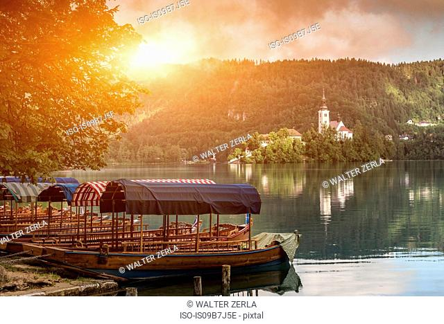 Tourist boats on Lake Bled waterfront, Slovenia