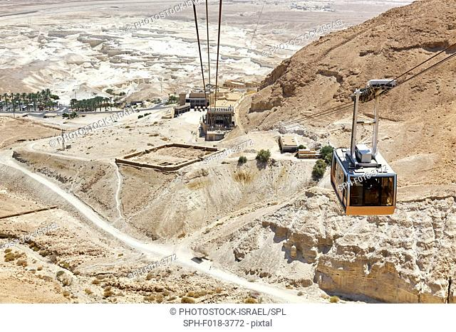 Cable Car ascending to the mountain top, Masada, Israel