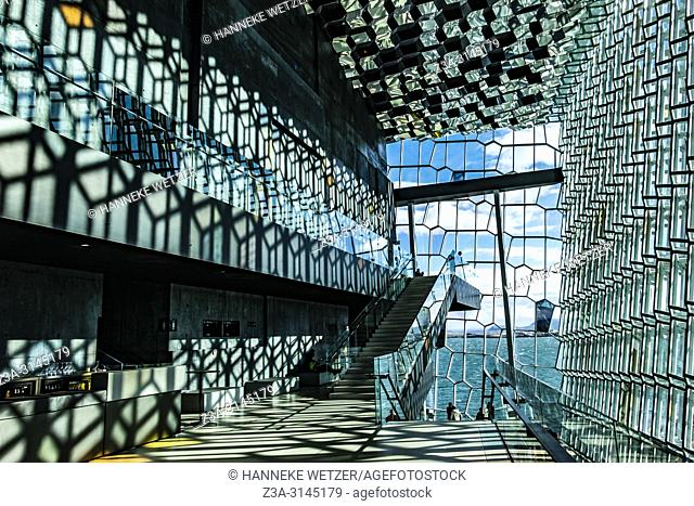 Interior of the Harpa Concert Hall and Conference Centre in Reykjavic, Iceland