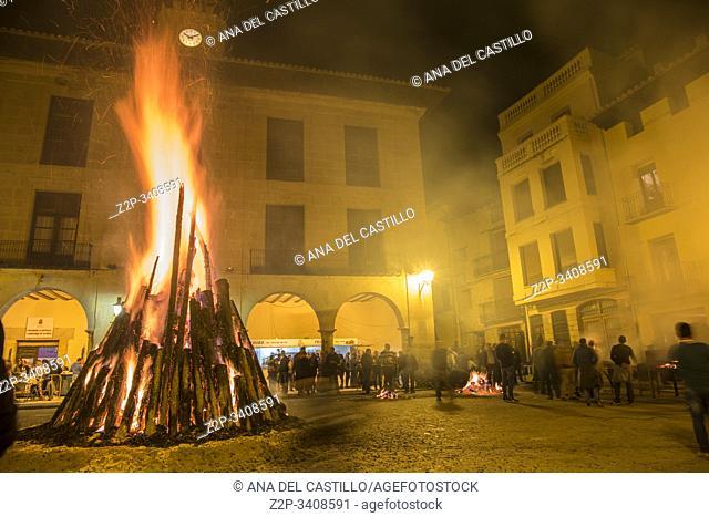 San Miguel bonfire festival on May 4, 2018 at main square Mora de Rubielos village Teruel Aragon Spain