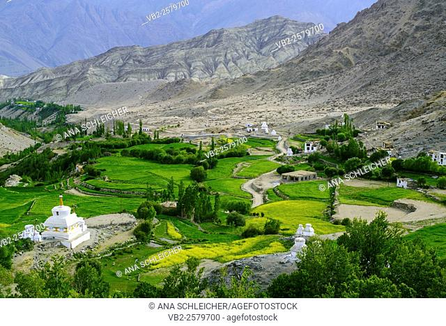 Scenery from Likkir gompa. A narrow green valley blooms along the river. Stupas and traditional houses are scatterd in the territory