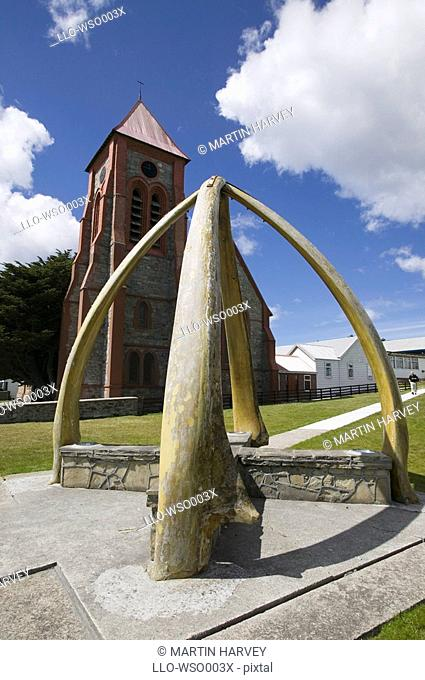 Low Angle View of a Whale Bone Arch in Front of Christ Church  Stanley, Falkland Islands, South Atlantic Ocean