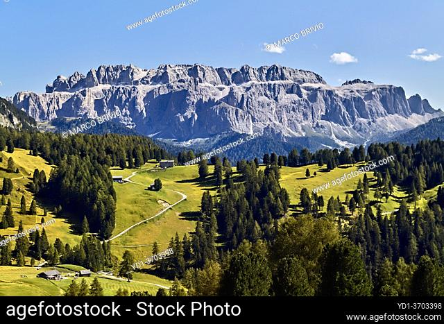Col Raiser. Val Gardena. South Tyrol. Italy and the Puez Odle Geisler Natural Park. The Sella group