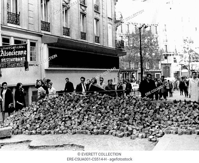 Stone barricade in Paris' Latin Quarter during the May 1968 general strike and demonstrations in Paris. May 26, 1968. CSU-ALPHA-1545 CSU Archives/Everett...