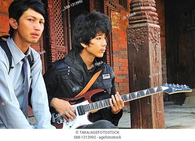 Nepali young new generations in historical Durbar squarer