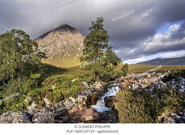 The Scottish mountain Buachaille Etive Mòr in Glen Etive in the Highlands of Scotland, UK