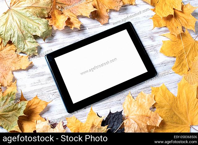Tablet computer with blank screen lies on vintage wooden desk with bright foliage. Flat lay composition with autumn leaves on white wooden surface
