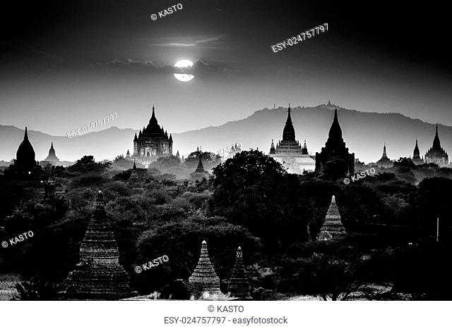 Temples of Bagan an ancient city located in the Mandalay Region of Burma, Myanmar, Asia. Black and white shot