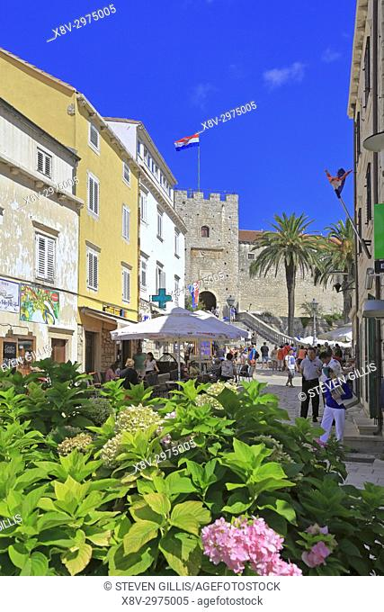 Flowers in a street near the staircase and Tower Revelin or Land Gate, Korcula Town, Korcula Island, Croatia, Dalmatia, Dalmatian Coast, Europe