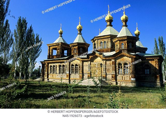 Karakol; Orthodox Church; Kyrgyzstan; A Russian Orthodox Church made from wood and corrugated iron completed in 1895 and used as a club during Soviet times