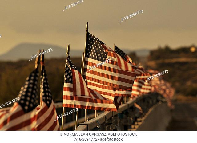 American flags attached to a bridge over the Santa Cruz River blow in the wind in Green Valley, Arizona, USA