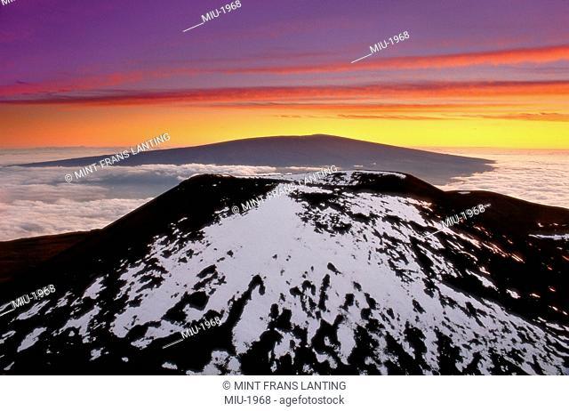 View of Mauna Loa from Mauna Kea, Hawaii Volcanoes National Park, Hawaii