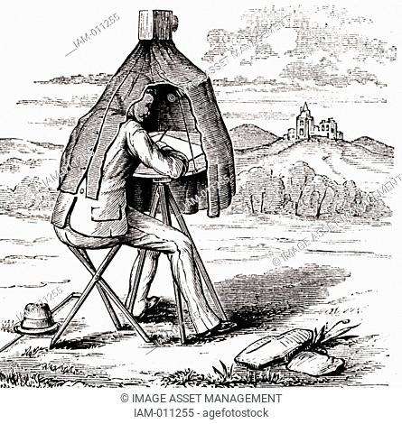 Aids to drawing: The field camera' Sketching with the aid of a portable tent-type camera obscura. Behind the lens mounted on top of the tent is a mirror angled...