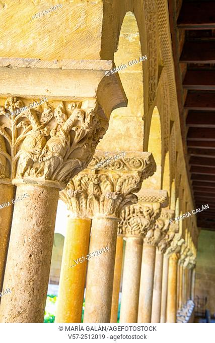 Detail of columns and capitals, close view. Romanesque cloister, Santo Domingo de Silos monastery, Burgos province, Castilla Leon, Spain