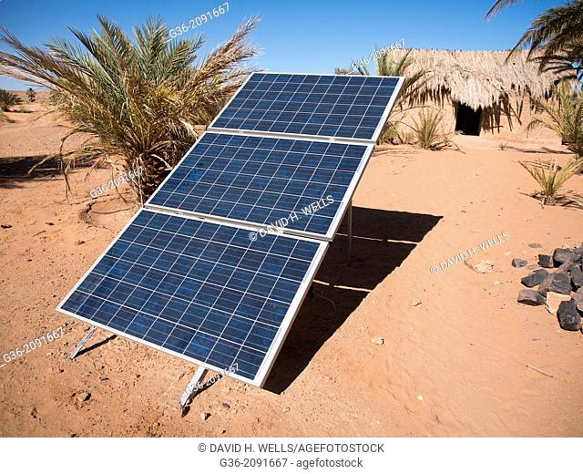 Solar panel on desert landscape in Tissidermine, Morrocco
