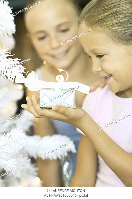 Girl holding present next to christmas tree, sister watching