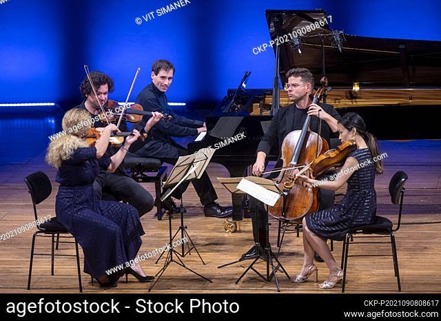 Concert of Pavel Haas Quartet and Israeli classical pianist Boris Giltburg during the Dvorak Prague International music Festival at Rudolfinum, in Prague