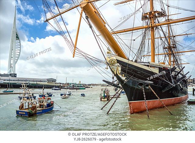 HMS Warrior at the Portsmouth Historic Dockyard, England, UK. It was the Royal Navy's first ironclad ocean-going armoured battleship, and was launched in 1860