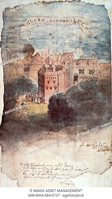 Painting of the Globe Theatre in London. Dated 16th Century