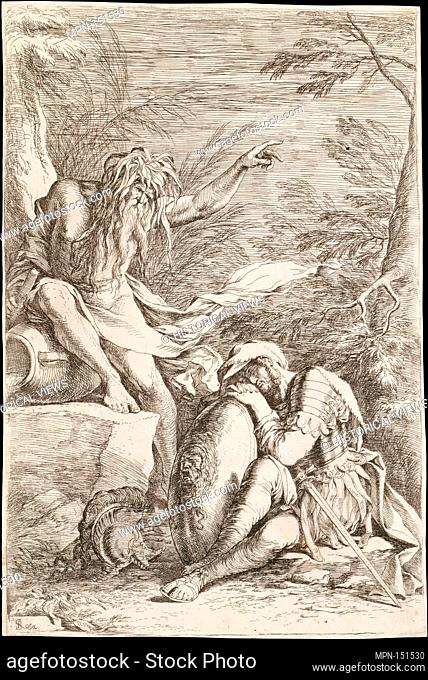 Dream of Aeneas: Aeneas rests his head on his hands atop his shield, while the river god Tiber leans on a vessel and points upward with his left hand