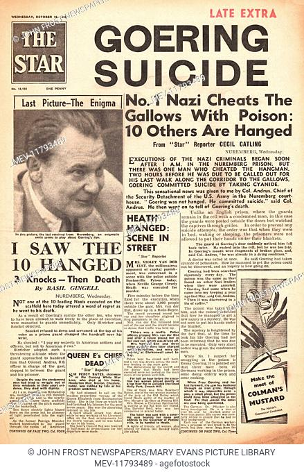 1946 The Star (London) front page 2nd Edition Herman Goering commits suicide