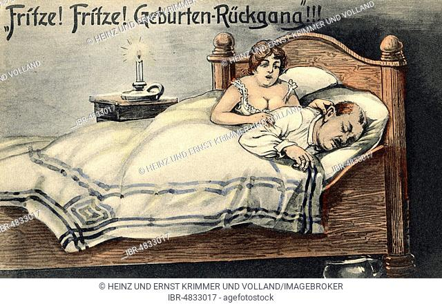 Satire on the subject of falling birth rates in the 1920s, Germany