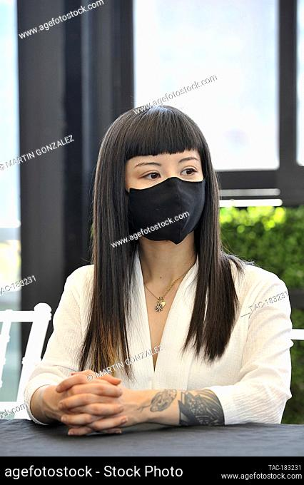 MEXICO CITY, MEXICO - OCTOBER 26: Actress, Sayaka Yokoyama speaks during The Blackboard And Press Conference of the movie (NUDUS) on October 26