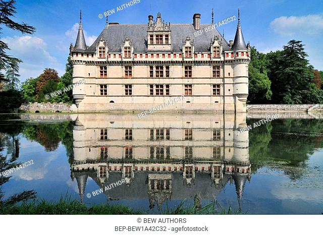 Chateau d'Azay-le-Rideau and peaceful reflection it is one of the earliest French Renaissance chateaux and list as an UNESCO world heritage site
