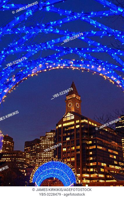 Holiday lights brighten a trellis in Boston