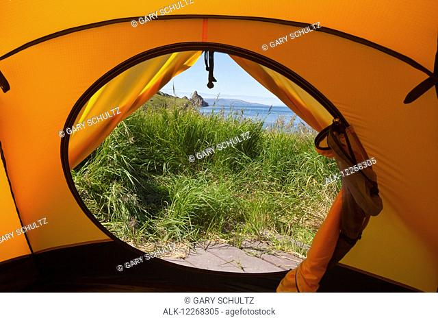 View of Dragon's Tail rock formation from inside tent on tent platform, Walrus Islands State Game Sanctuary, Round Island, Bristol Bay, Southwest Alaska, USA