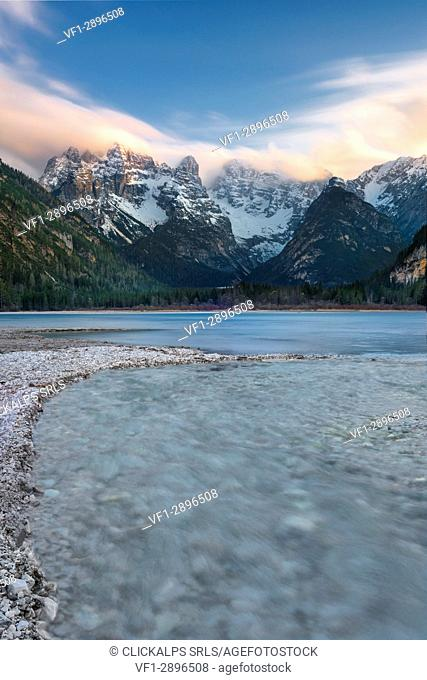 Carbonin, Dolomites, South Tyrol, Italy. Lake Landro with the peaks of the Cistallo group