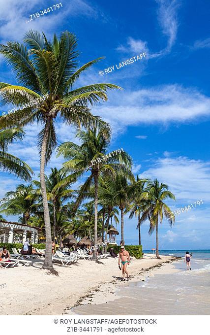 Beachfront of a luxury resort along the Mayan riviera of the Yucatan peninsula in Mexico