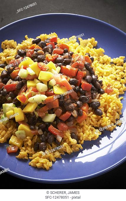 Annatto rice with beans and peppers (Mexico)