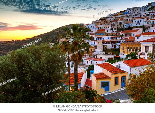 View of Ioulida village on Kea island in Greece.
