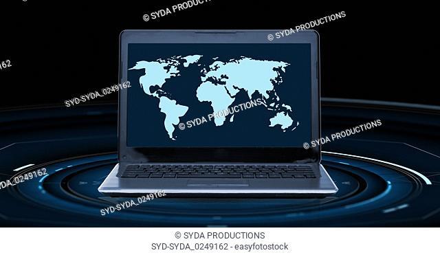 world map on laptop computer screen