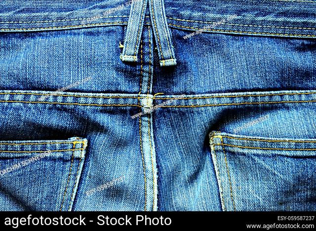 jeans, back with belt loops and bags