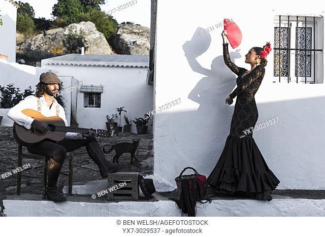 Spanish couple dressed in flamenco style. Facinas, Tarifa, Cadiz, Andalusia, Southern Spain