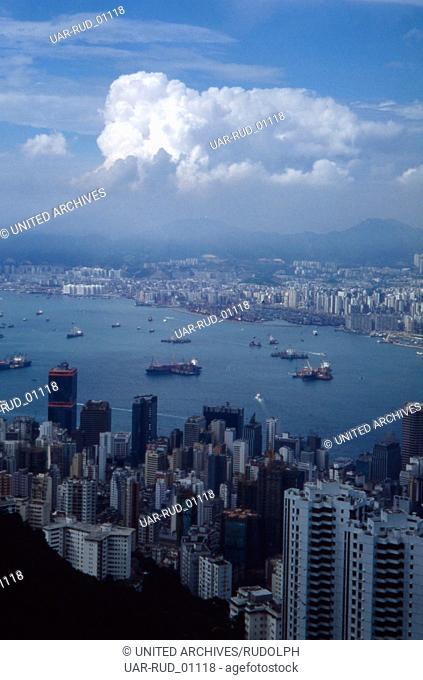 Der Victoria Harbour in Hongkong, 1980er Jahre. Victoria Harbour in Hongkong, 1980s